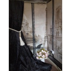 "NEW! Stunning Heavy Black Crushed Velvet 114""D 76""W Blackout Lined Bay Curtains"