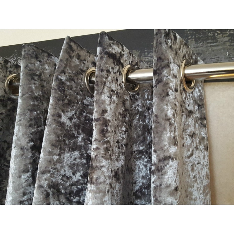 Huge Heavy Silver Crushed Velvet 126D 128W Blackout Lined Eyelet Bay Curtains