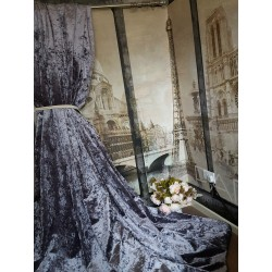 """NEW! Stunning Heavy Lilac Crushed Velvet 113""""D 52""""W Blackout Lined Bay Curtains"""