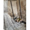 """NEW! Heavenly Ice Grey Crushed Velvet111""""D 76""""W Blackout Lined Eyelet Curtains"""