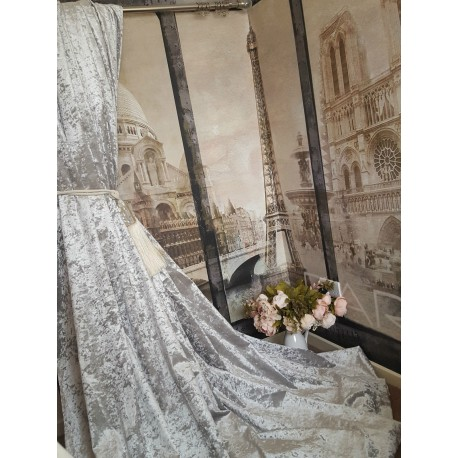"""NEW! Heavenly Ice Grey Crushed Velvet111""""D 52""""W Blackout Lined Eyelet Curtains"""