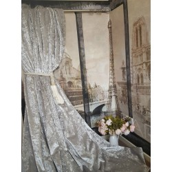 """NEW! Heavenly Heavy Dove Grey Crushed Velvet 113""""D 102""""W Blackout Lined Curtains"""