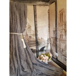 "NEW! Huge Bespoke Grey Chenille Velvet EC 102""W 113""L Blackout Lined Bay Curtains"