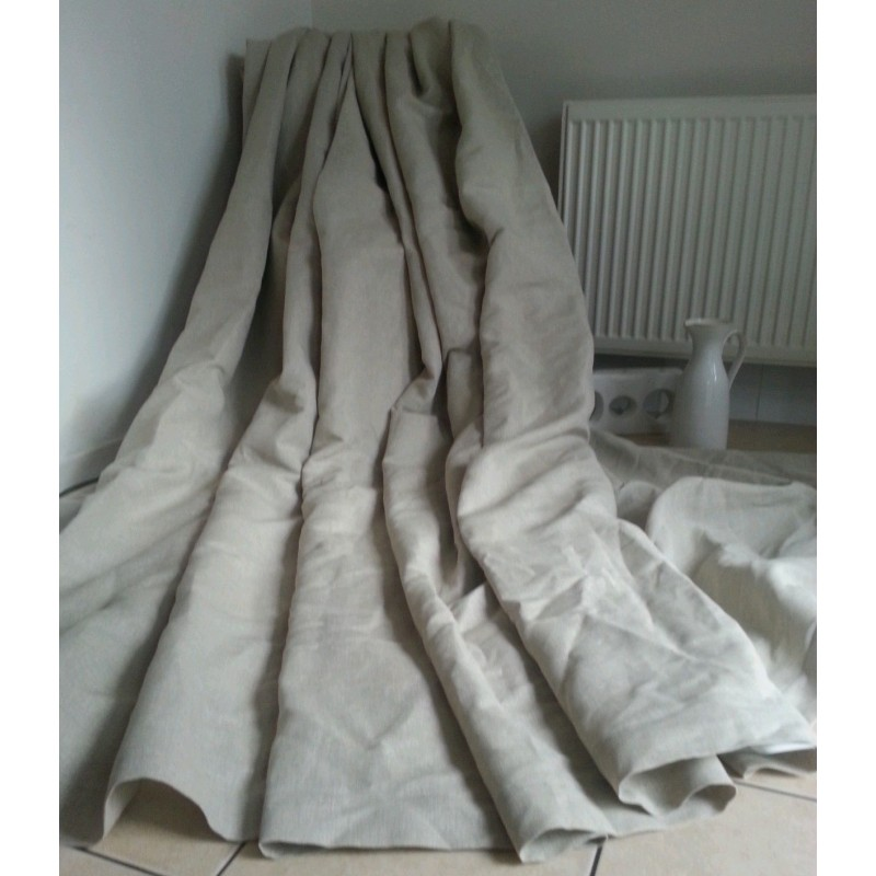 """Lined Linen Drapes: Made To Measure 55""""W 93""""D Natural 100% Irish Linen Cotton"""