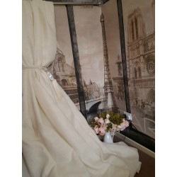 "Made To Measure 115""W 113""D Ivory 100%Irish Linen Blackout Lined Bay Curtains"