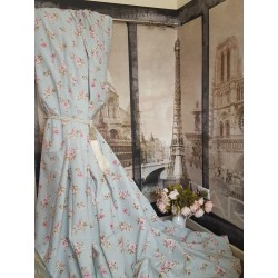 "Vintage Chintz Huge 100%Cotton Duck Egg 105""D 52""W Blackout Lined Bay Curtains"