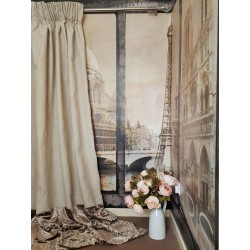 "Made To Measure 110""W 121""D Natural 100% Irish Linen Blackout Lined Bay Curtains"