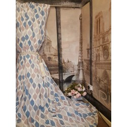 """Bespoke Hour Glass Retro Cotton Panama EP 102""""W 125""""L Blackout Lined Bay Curtains"""