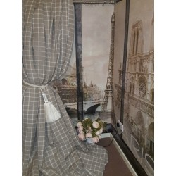 "Made To Measure 115""W 112""D Natural Check 100% Linen Blackout Lined Bay Curtains"
