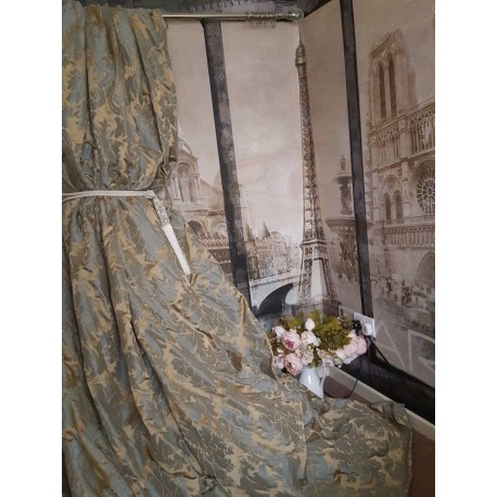 "NEW! Sublime Huge Classic French Damask Duck Egg 95""D 52""W Interlined Bay Curtains"