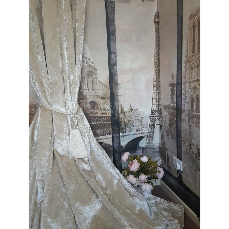 new  heavy ivory cream crushed velvet 113 u0026quot d 52 u0026quot w blackout lined bay curtains