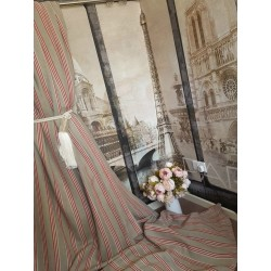 "NEW! Stunning 55""W 93""D Natural Red Striped 100% Linen Cotton Lined Curtains"