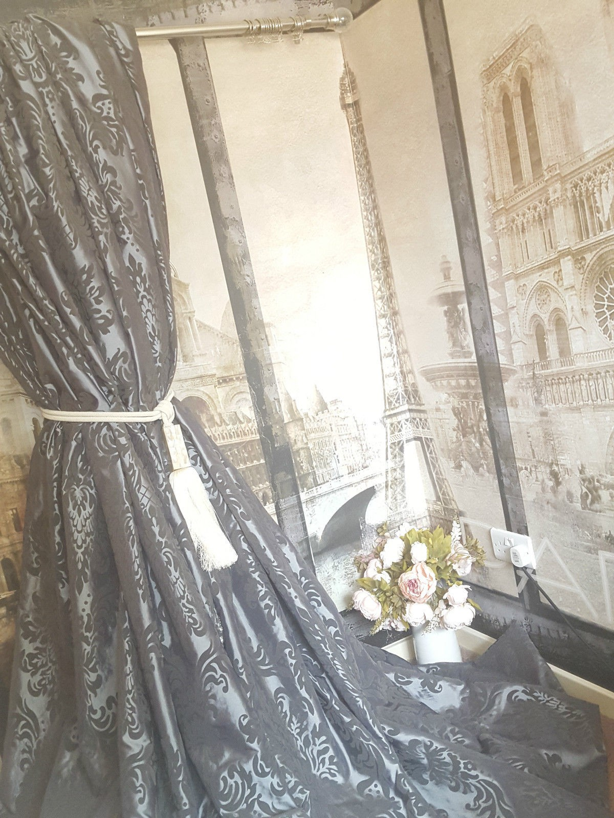 NEW! Sublime Huge Classic French Damask Silver Silk 90\