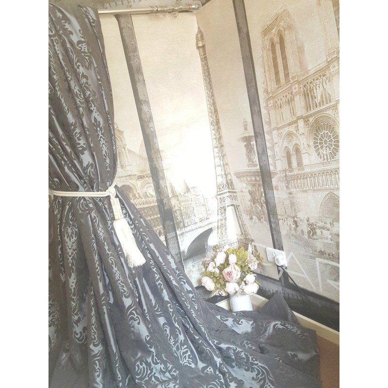 """... Silver Silk 90""""D 52""""W Lined Bay Curtains - Stylish Interior Curtains"""