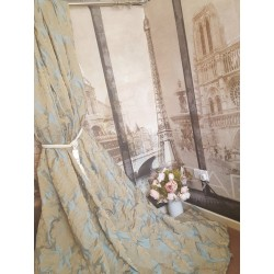 "NEW!Sublime Huge French Damask Gold Duck Egg 135""D 110""W Lined Long Bay Curtains"