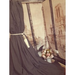 "NEW! Huge Traditional Wool Charcoal Grey 102""W 113""Long Cotton Lined Bay Curtains"