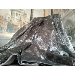"Opulent Huge Heavy Silver Crushed Velvet 114""D 102""W Blackout Lined Bay Curtains"
