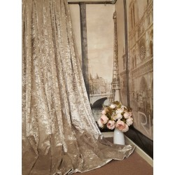 "Stunning Heavy Champagne Crushed Velvet 114""D 76""W Blackout Lined Bay Curtains"