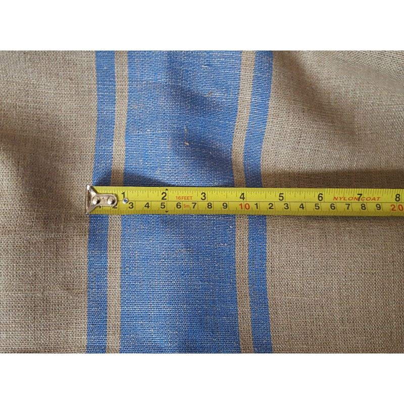 Natural Taupe Blue Ticking Stripe 100 Heavy Linen 60