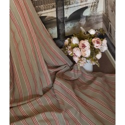 "Designer Natural Red Ticking Stripe 100% Heavy Linen 60"" Designer Curtain Fabric"