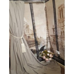 """Made To Measure 110""""W 93""""D Natural 100% Irish Linen Cotton Lined Bay Curtains"""