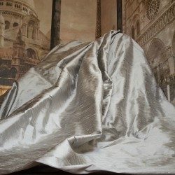 """Opulent Huge 100% Pure Silk Pewter 94""""D 100""""W Blackout/Thermal Lined Curtains"""