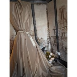 "NEW! Sublime Huge Classic Taffeta Silk Taupe Mink 113""D 52""W Interlined Curtains"