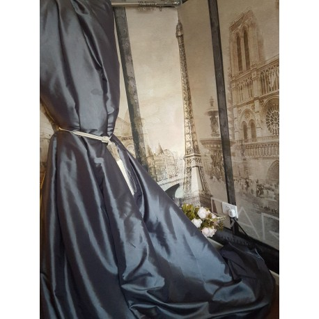 """NEW! Sublime Huge Classic Taffeta Silk Charcoal Grey 90""""D 52""""W Cotton Lined&Interlined Curtains"""