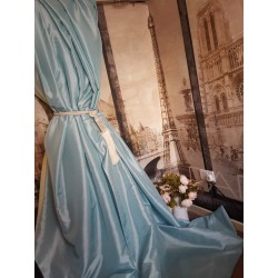 "NEW! Sublime Huge Classic Taffeta Silk Baby Blue 90""D52""W Cotton Lined&Interlined Curtains"