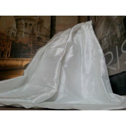 """Opulent Huge 100% Pure Silk White 114""""D 74""""W Blackout/Thermal Lined Curtains"""