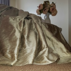 """Opulent Huge 100% Pure Silk Mercury 114""""D 74""""W Blackout/Thermal Lined Curtains"""