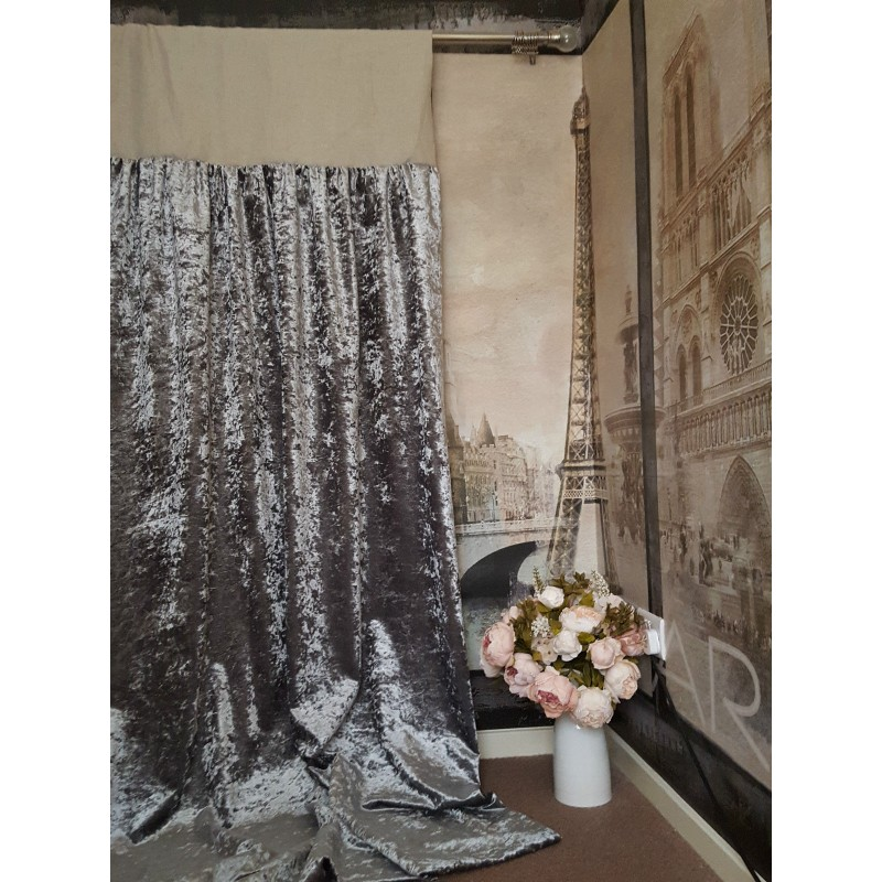 Made To Measure 52W 121D Silver Crushed Velvet Blackout Lined Bay Curtains
