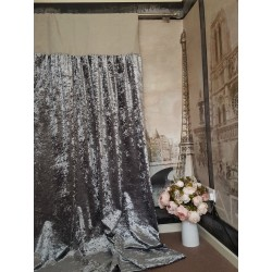 "Made To Measure 102""W 121""D Silver Crushed Velvet Blackout Lined Bay Curtains"