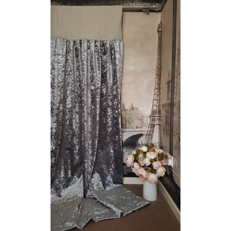 Made To Measure 102 Quot W 121 Quot D Silver Crushed Velvet Blackout