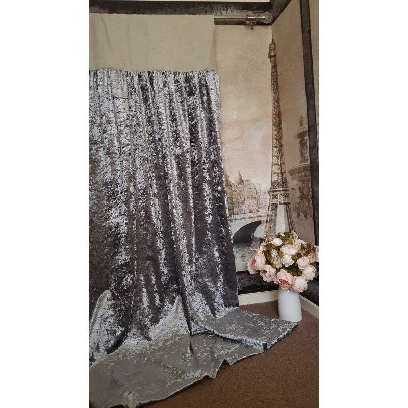 Made To Measure 102W 121D Silver Crushed Velvet Blackout Lined Bay Curtains