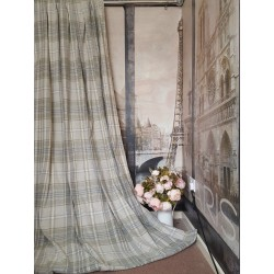 "New Huge Bespoke Stone Natural Tartan 102""W 112""L Blackout Thermal Lined Curtains"
