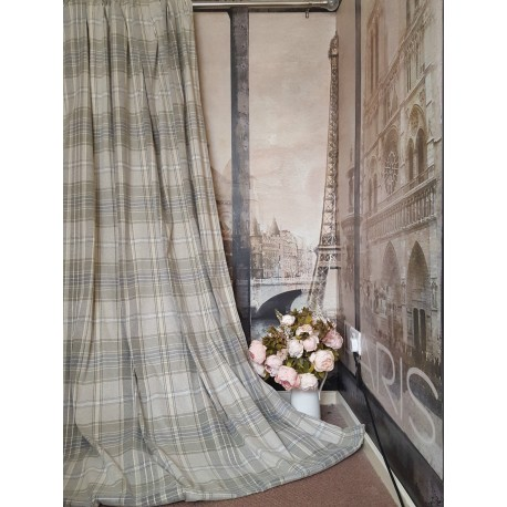 """New Huge Bespoke Stone Natural Tartan 78""""W 112""""L Blackout Thermal Lined Curtains"""