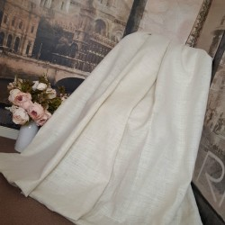 "Huge Large Made To Order 100% Jute Cream 105""W 114""D Blackout/ther Lined Curtains"