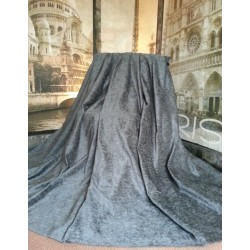 "Huge Bespoke Charcoal Chenille Velvet 102""W 113""L Blackout Thermal Lined Curtains"