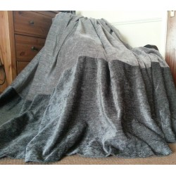"Huge Bespoke Silver/Charcoal Chenille Velvet 102""W 111""L Blackout Lined Curtains"