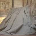 """Opulent Huge Traditional Wool Grey 113""""D 74""""W Blackout/Thermal Lined Bay Curtains"""