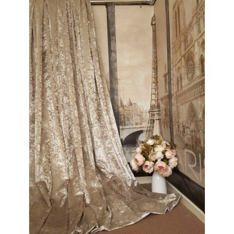 """Stunning Heavy Champagne Crushed Velvet111""""D102""""W Blackout Lined Eyelet Curtains"""